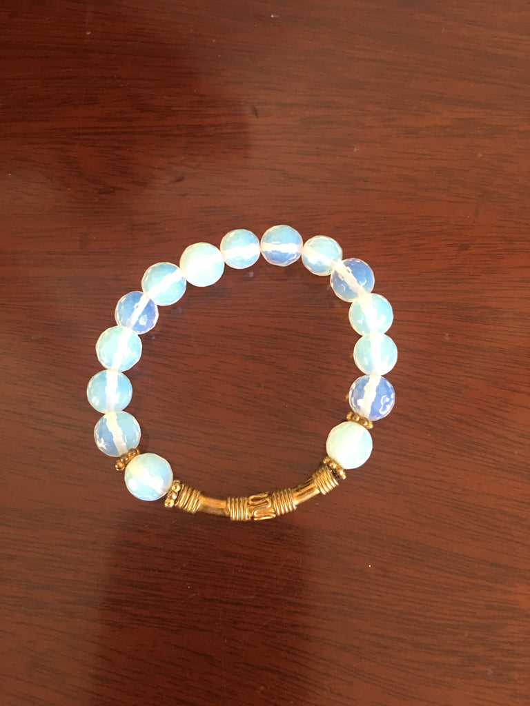 Opalite Stretch Bracelet with Gold-toned Bar Accent