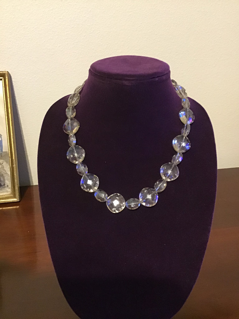 Necklace of Clear Oval Shaped Faceted Crystals