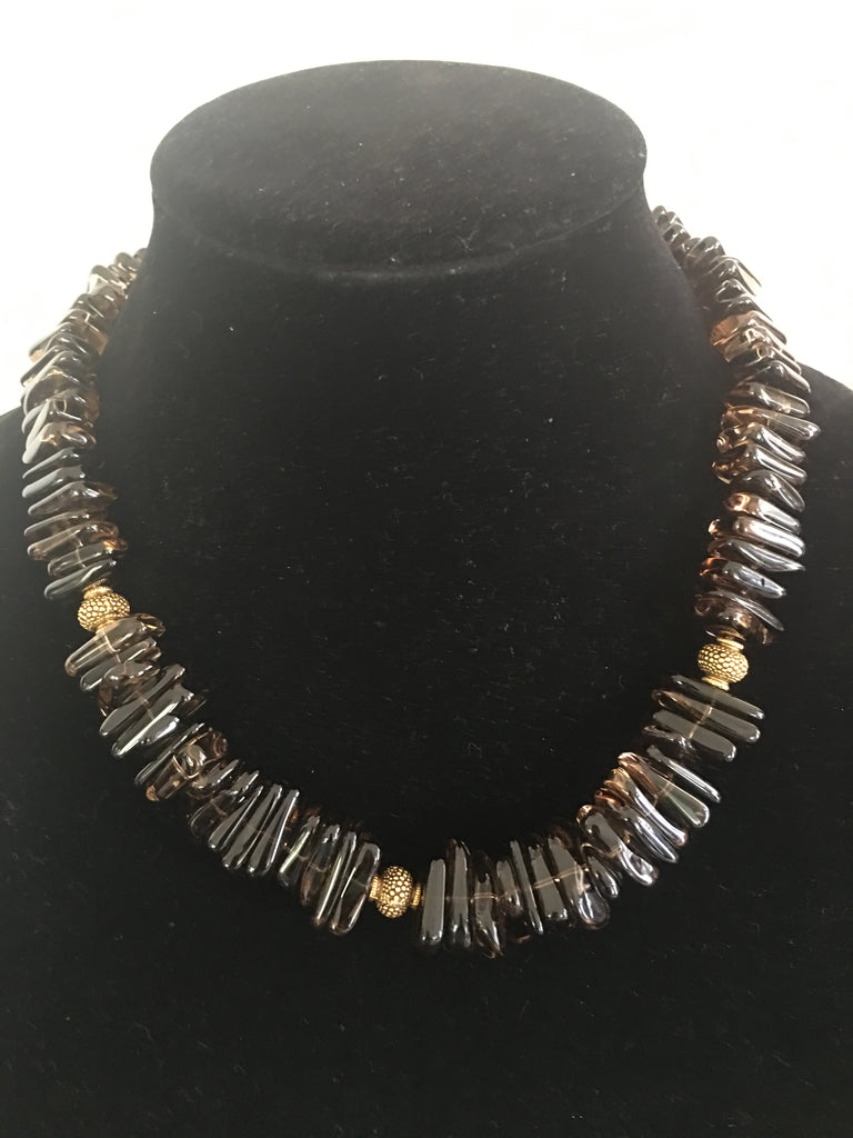 Smokey Quartz Necklace with Bronze Accents and Fancy Clasp