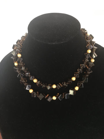 Topaz Quartz Cube Shaped, Double Strand Necklace with Gold Tone Accents and Fancy Clasp.