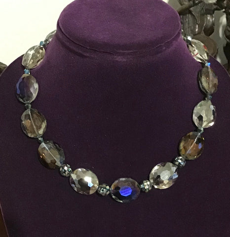 Hues of Blue Faceted Oval Crystals and Beads with Mother of Pearl Inlays