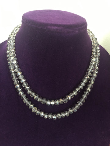Double Strand Smokey Crystals with Fancy Silver-toned Clasp.