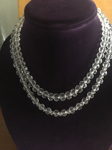 Double Strand Clear Crystal Necklace with oval shaped faceted crystals