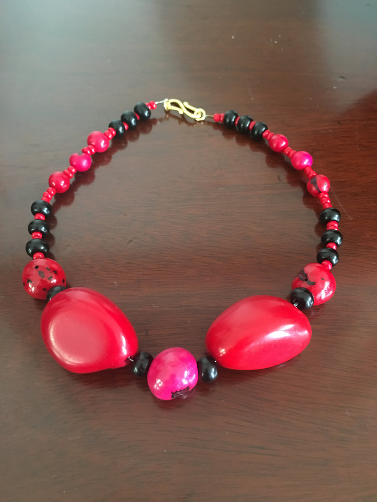 Large Tague Nuts Necklace with Red and Black Rainforest Beads