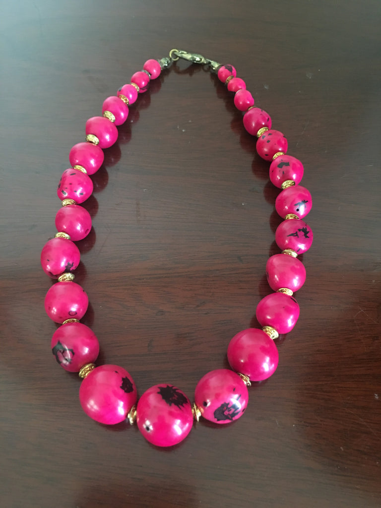 Fuschia Tague Nut Necklace with Gold-tone Accents