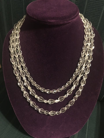 Triple Strand Teardrop Crystal Necklace with Fancy Clasp