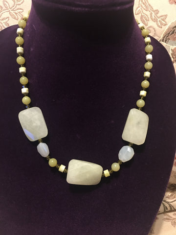 Banana Jade and Crystal Necklace