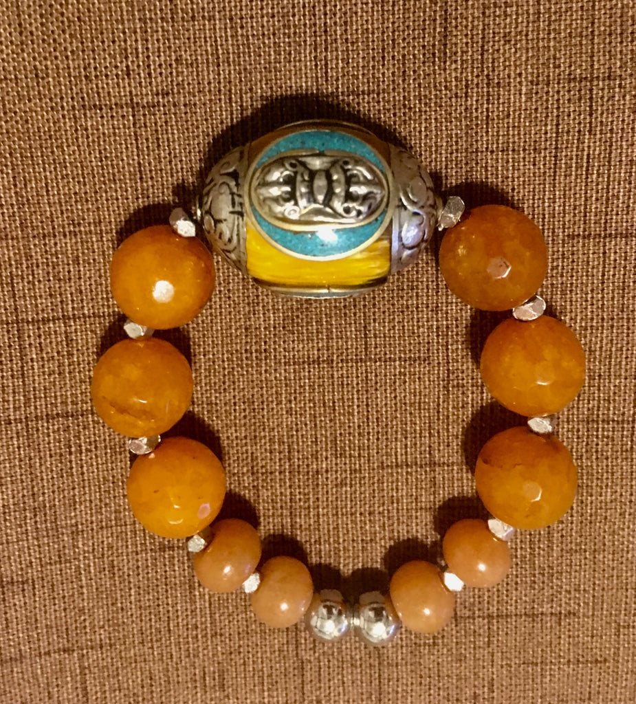 Tibetan Amber Center Stone Stretch Bracelet with Silver and Turquoise.
