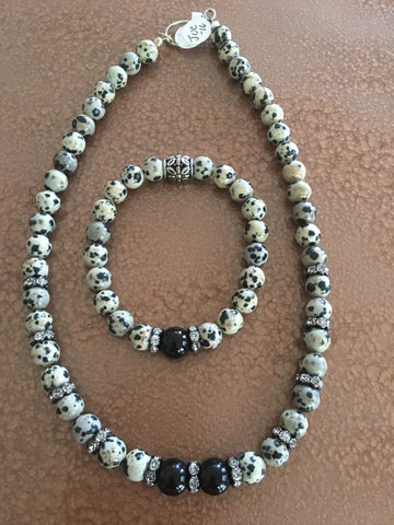 Black and White Necklace and Bracelet Set with  Black Onyx and Rhinestone Accents