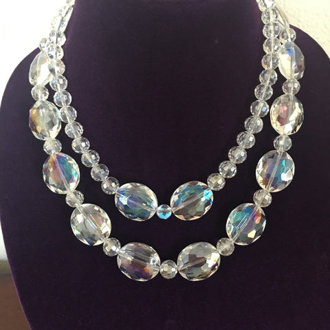 Double Strand Crystal Necklace with Fancy Clasp