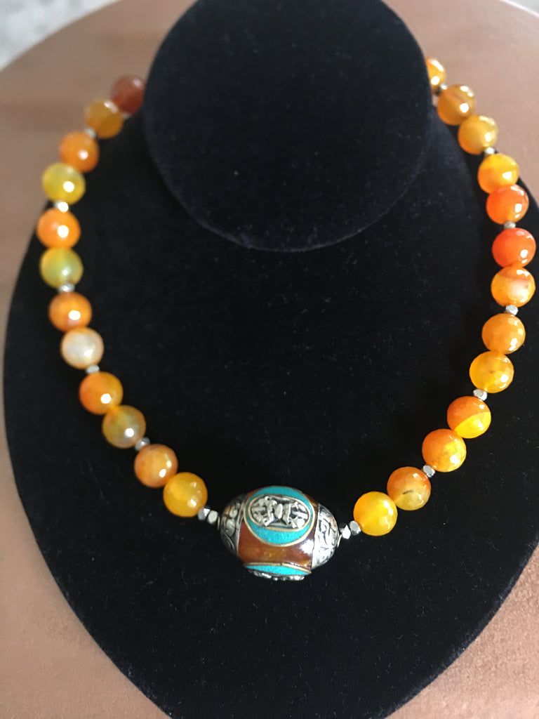 Necklace with Large Tibetan Amber, Turquoise and Silver