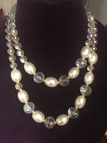Double Strand AB Quartz and Mother of Pearl Necklace
