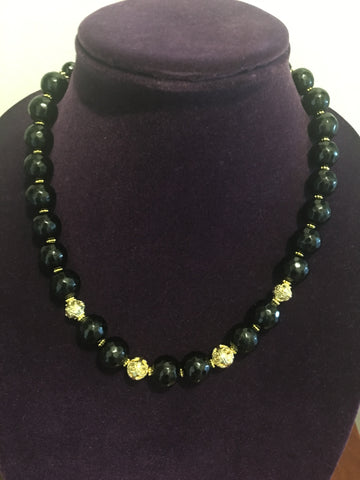 Black Onyx  Necklace with Fancy Gold Dipped Accents