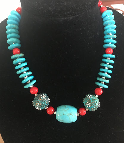 Turquoise Necklace with Large Center Bead