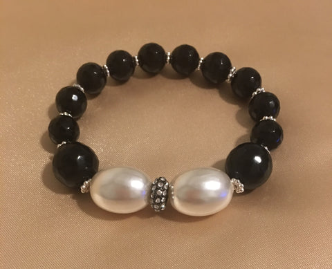 Black Onyx and Oval Mother of Pearl and Rhinestone Bracelet