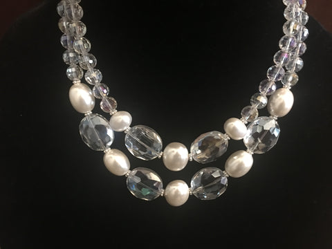 Necklace of Double Strand Large Oval AB Crystals and Mother of Pearl