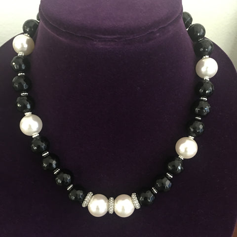 Black Onyx and Mother of Pearl Necklace with Rhinestone and Silver  accents