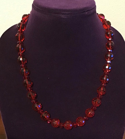 Red Round Faceted Crystal Necklace