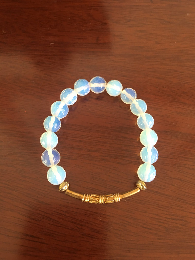 Opalite Bracelet with Gold-toned Bar Accented