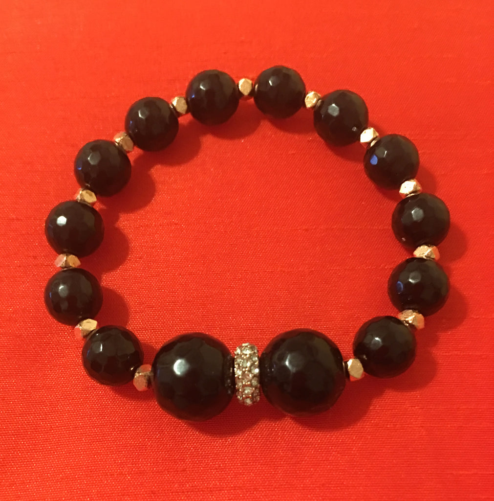 Black Onyx with 2 Large Center Stones and Rhinestones with silver Accents