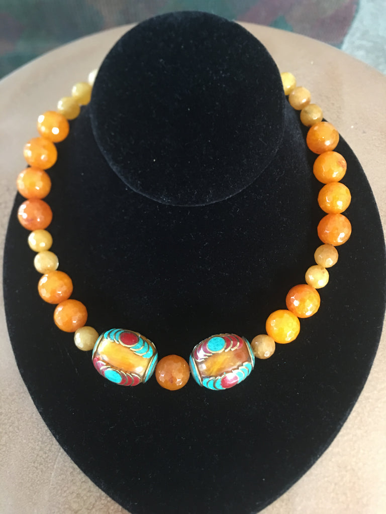 Necklace with 2 Large Tibetan Amber, Silver and Coral Stones