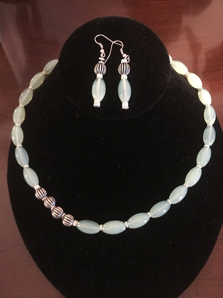 Opalite Necklace and Marching Earrings