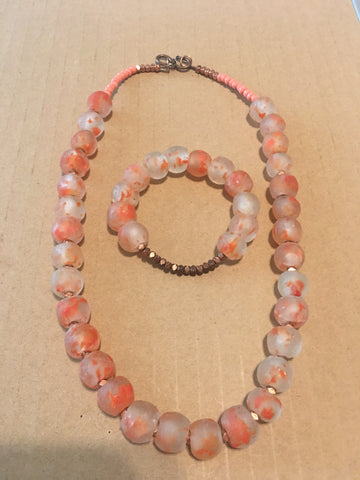 African Glass Necklace and Bracelet Set with Rose Gold Accents and Clasp.