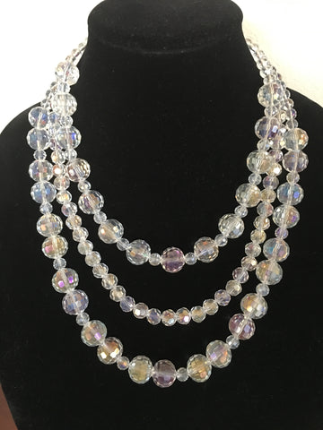 Triple Strand Faceted AB Crystal Necklace