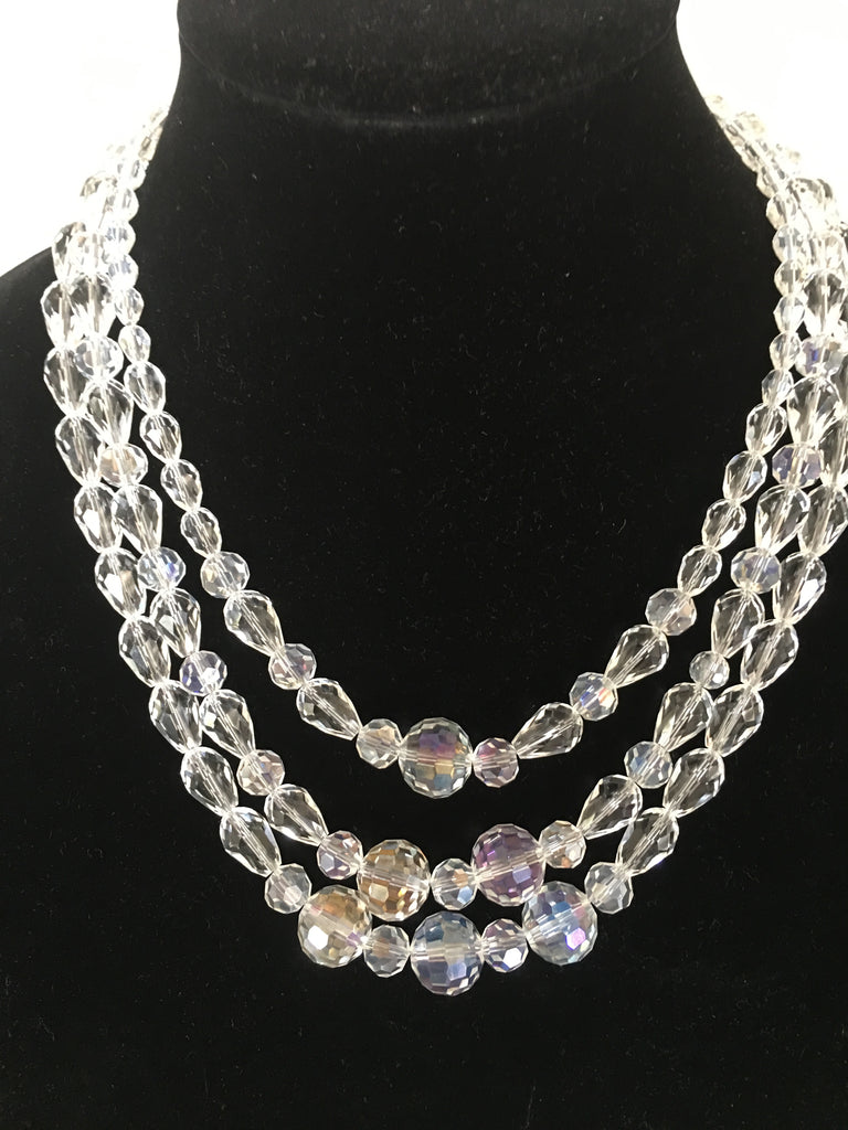 Triple Strand Teardrop Crystal Necklace