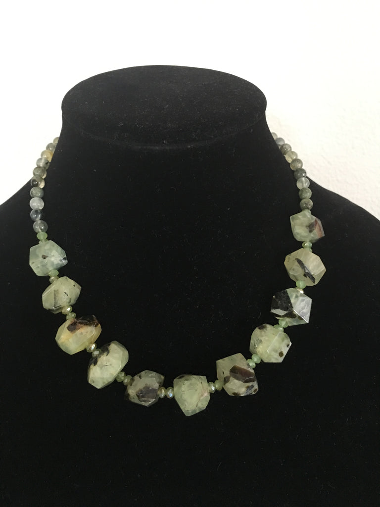 Necklace of Chunky Green Quartz Nuggets and Matching Bracelet