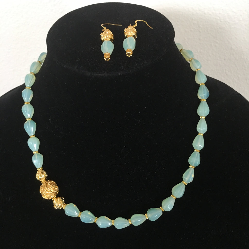 Opalite Necklace and Matching Earrings with Greenish Hue