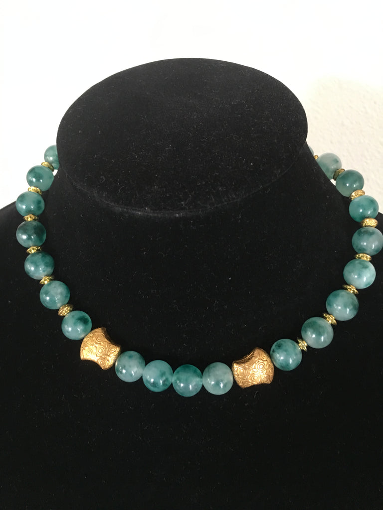 Speckled Jade Necklace with Gold-Toned Accents