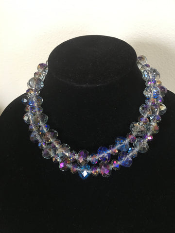 Double Strand Large Blue Crystal Necklace