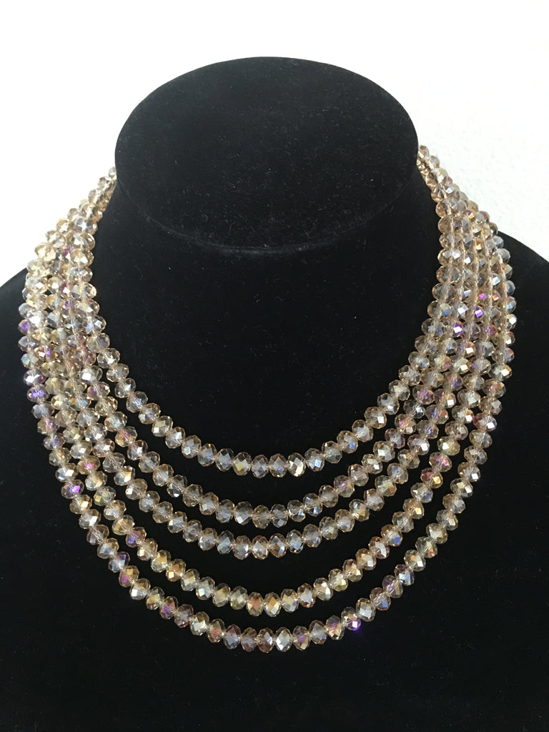 Five Strand Champagne Crystal Necklace