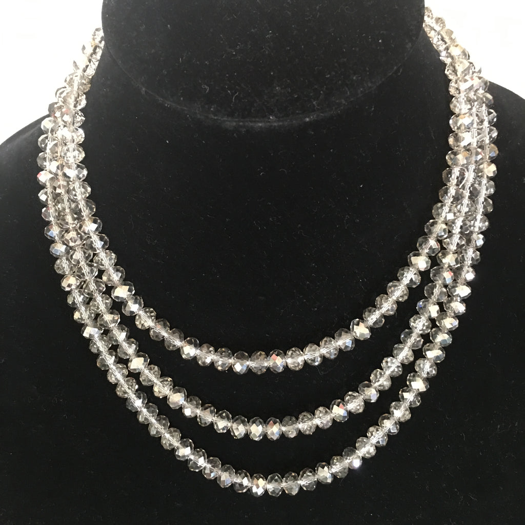 Triple Strand Grey/Smokey Crystal Necklace with Fancy Clasp.