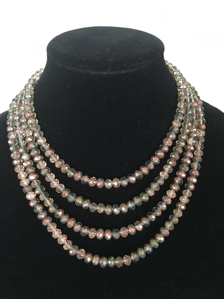 Four Strand Champagne Colored Crystal Necklace