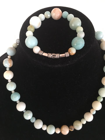 Medium Blue Faceted Agate Necklace and Bracelet Set, with Silver-Tone Accents.