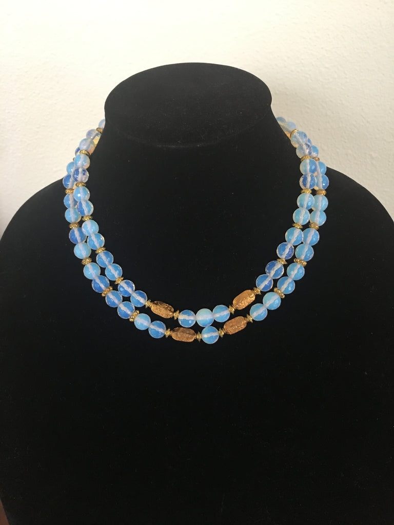 Double Strand Opalite Necklace with Gold-toned Accents.