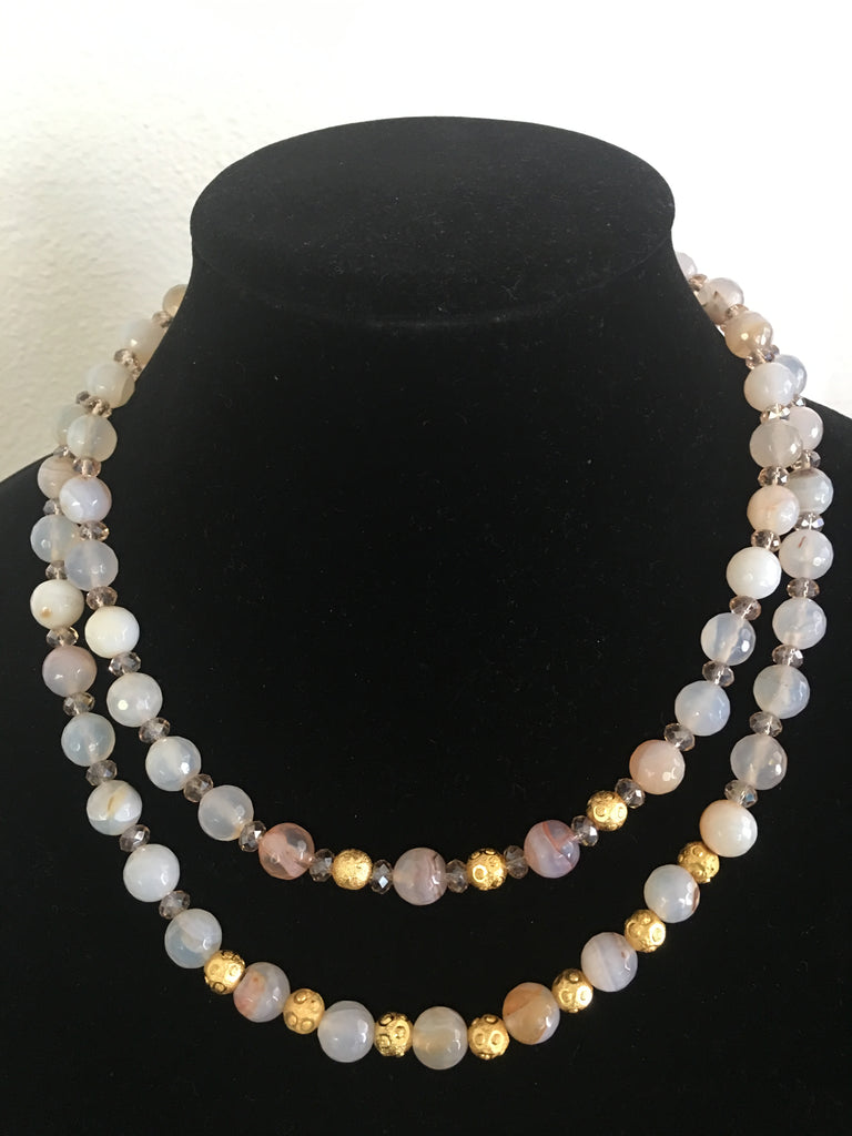 Double Strand Blush Faceted Agate