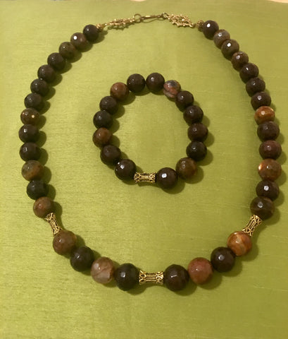 Bronzite  Necklace and Stretch Bracelet Set