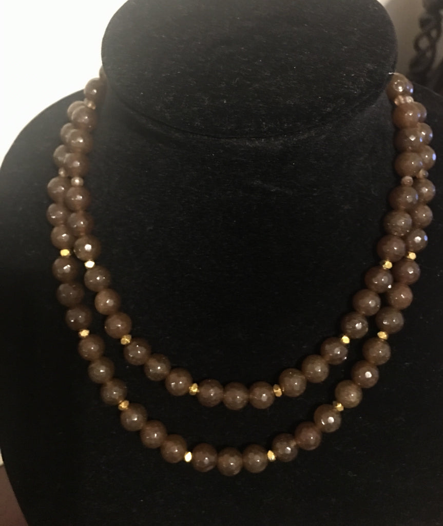Brown Faceted Agate, Double Strand Necklace with Gold-Tone
