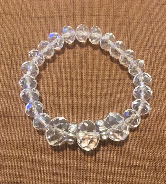 Bracelet of Clear Crystals with 3 Large Center Stones and Rhinestone Accents.