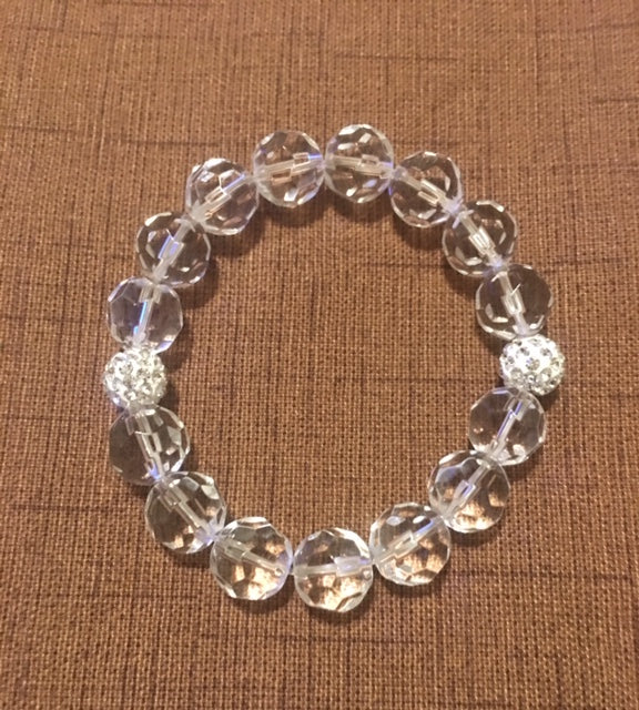 Bracelet of Clear Crystals with Rondel Accents.