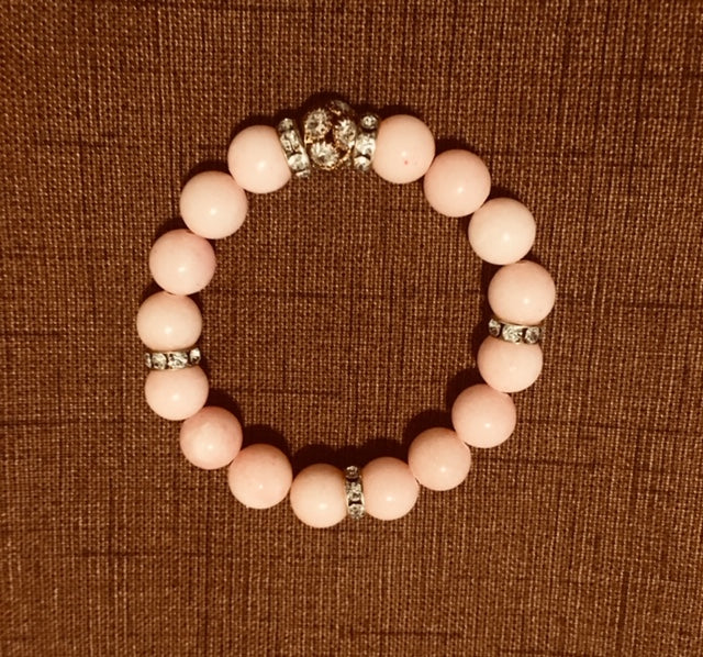 Pink Dyed Jade with Rhinestone Accents