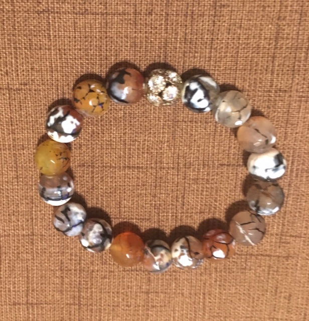 Brown, Black and White Spider Agate with Rhinestone Accents