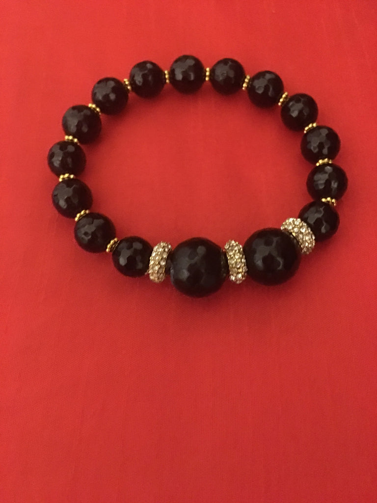 Black Onyx Bracelet with 3 Rhinestones and Gold Accents