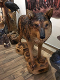 Chainsaw carved wolf