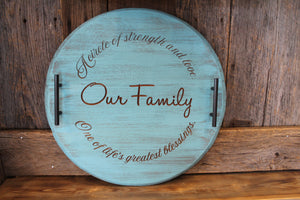 'Our Family' Bourbon Barrel Serving Tray or Lazy Susan