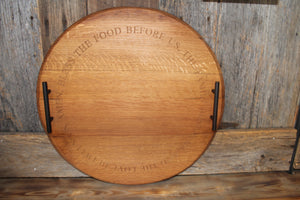 'Bless This Food' Bourbon Barrel Serving Tray or Lazy Susan