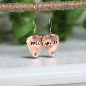 Copper Guitar Pick Earrings